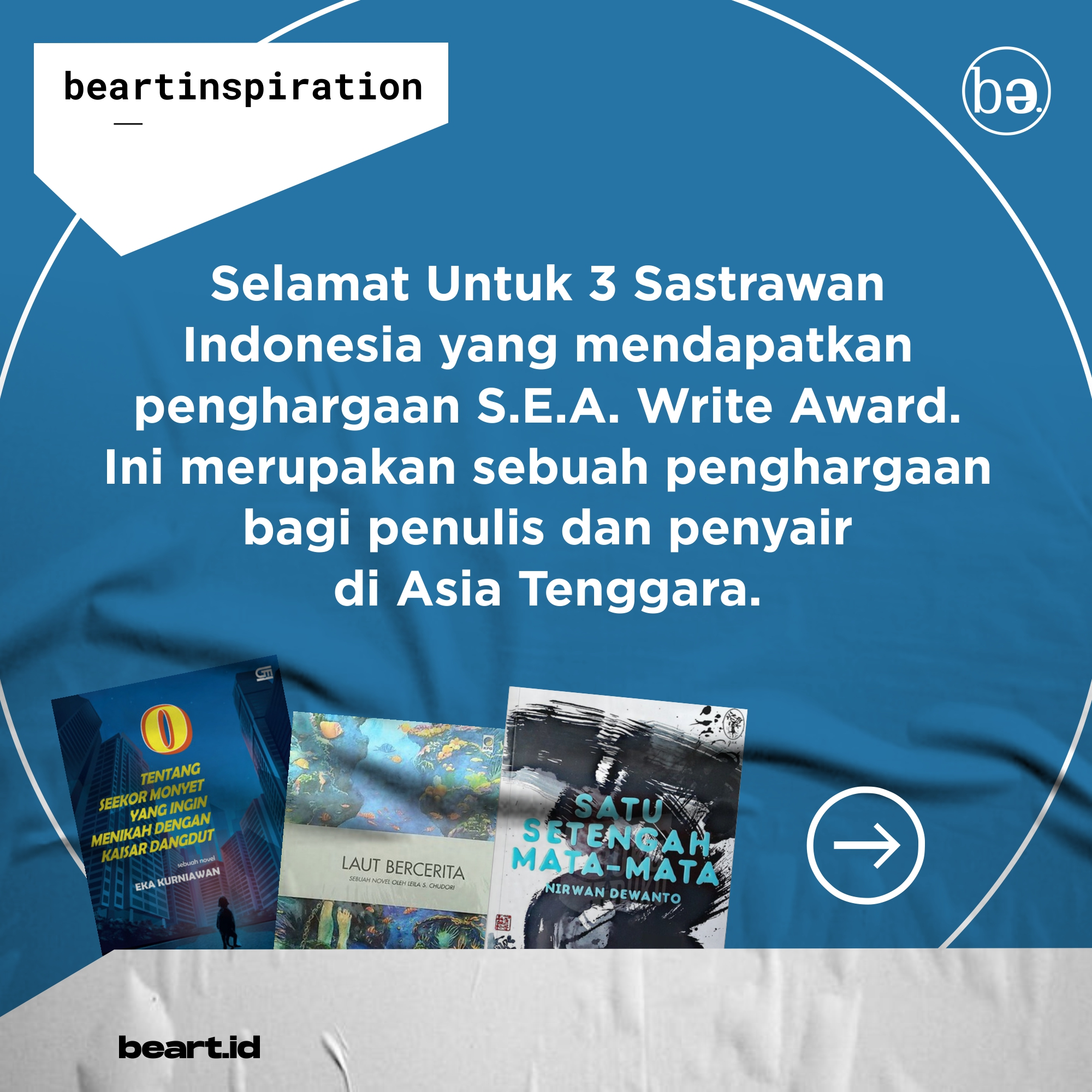 3 Sastrawan Indonesia raih Penghargaan SEA Write Award